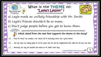 Finding & Teaching THEME Task Cards & More (DIFFERENTIATED)W/ BONUS POWER POINT!