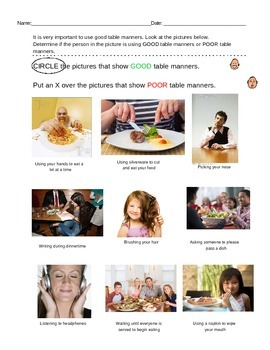 Teaching Table Manners and Etiquette Packet; life skills; special ed, Boardmaker