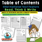 Informational Text Feature-Table of Contents - Grades 1-3
