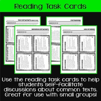Teaching & Talking about Text Structure: Leveled Questions, Task Cards, & Notes