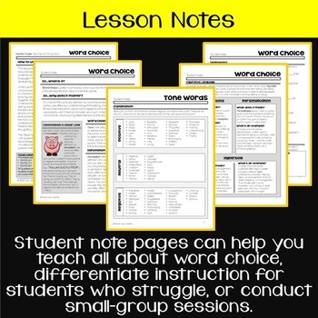 Teaching & Talking about Word Choice: Lessons, Leveled Questions, Notes