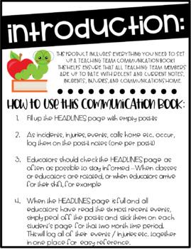 Teaching Team Communication Book / Binder