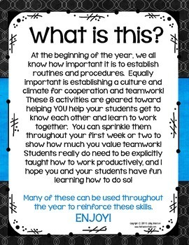 Teaching Teamwork:  8 Back to School Cooperative Activities