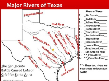 Teaching Texas Major Cities and Rivers - No Prep