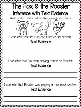 Teaching Text Evidence With Fables: The Fox & the Rooster