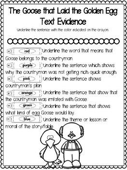 Teaching Text Evidence With Fables: The Goose that Laid the Golden Egg