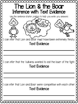 Teaching Text Evidence With Fables: The Lion & the Boar
