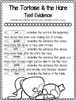 Teaching Text Evidence With Fables: The Tortoise & the Hare
