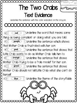 Teaching Text Evidence With Fables: The Two Crabs