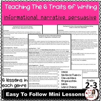 Six Traits of Writing Mini Lesson BUNDLE: Narrative, Informative, Persuasive
