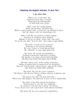 Teaching the English Articles with a Poem