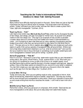 Teaching The Six Traits in Informational Writing- Ideas