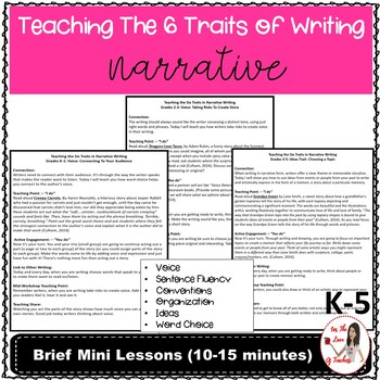 Teaching The Six Traits in Narrative Writing