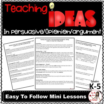 Teaching Ideas in Persuasive/Argument/Opinion Writing