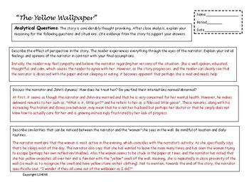 Teaching The Yellow Wallpaper  - Activities, Analysis, Handouts, History