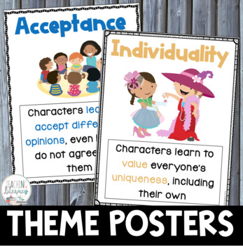 Teaching Theme - 61 POSTERS + 5 EDITABLE Poster Templates & BOOKLIST-Common Core