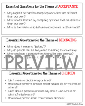 Teaching Theme - Essential Questions & Booklist - 30 Common Themes in Literature