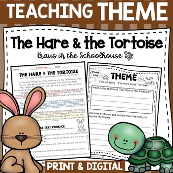 Teaching Theme With Fables The Hare And The Tortoise Tpt