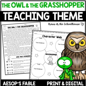 Teaching Theme with Fables - The Owl & the Grasshopper
