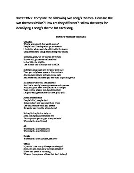 Teaching Theme Using Song Lyrics