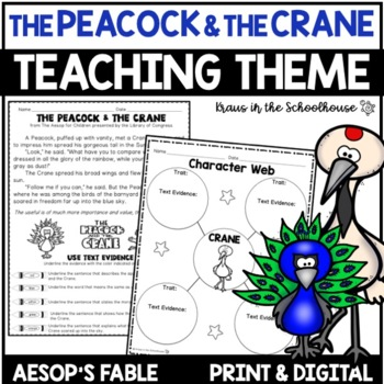 Teaching Theme with Fables - The Peacock & the Crane