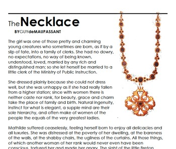 Teaching Theme with The Necklace by Guy de Maupassant Independent Packet