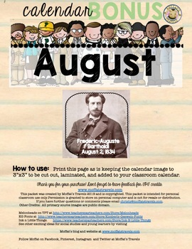 Teaching Timelines August Calendar BONUS: Frederic Auguste Bartholdi