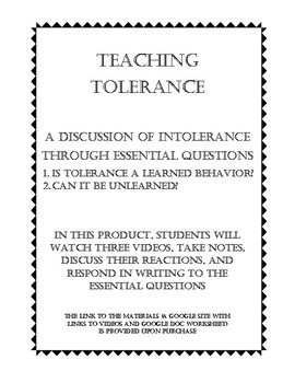 Teaching Tolerance / Intolerance