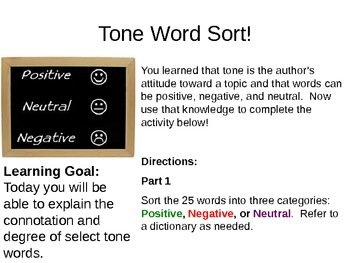 Teaching Tone Lesson Sequence:Helping students analyze the author's word choices