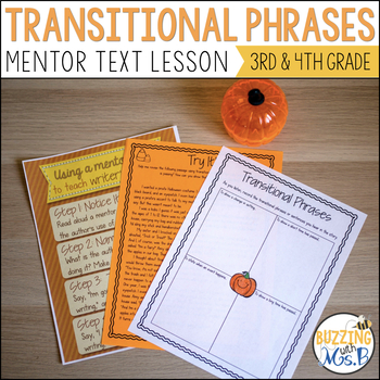 Teaching Transitional Phrases with Pumpkin Jack Freebie