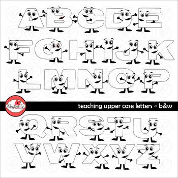 Teaching Upper Case Letters (Black & White) Clipart by Poppydreamz