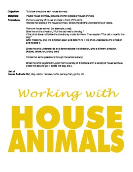 Teaching Vocabulary and Concepts using House Animals