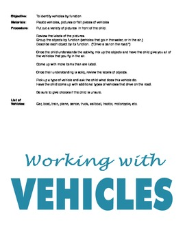 Teaching Vocabulary and Concepts using Vehicles