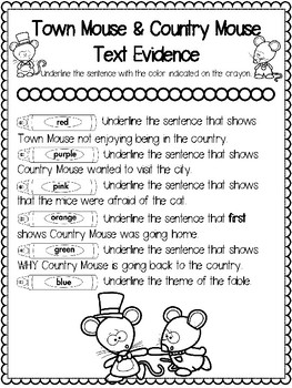 Teaching Text Evidence With Fables: Town Mouse & Country Mouse