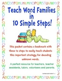 Word Families- Teaching Word Family Chunks Cheatsheet Bookmark