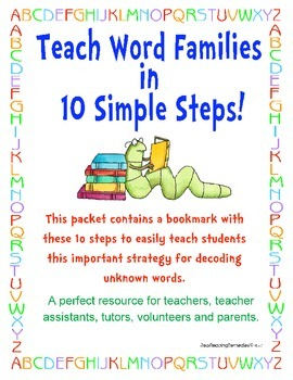 Word Families- Teaching Word Family Chunks Cheatsheet Bookmark