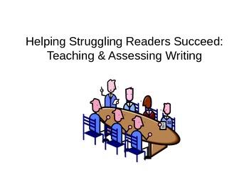 Teaching Writing to Struggling Readers