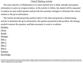 Teaching Your Students to Think Critically & Problem Solve: Free