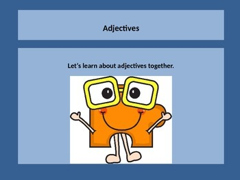 Teaching adjectives of COLOR, SIZE & SHAPE  lesson.  PowerPoint.