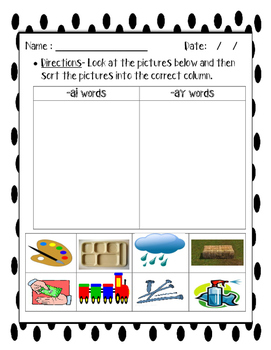 Teaching ai and ay words - Spelling/Phonics/Vowels
