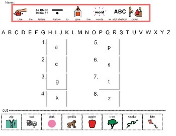 Teaching alphabetical order with children with autism or o