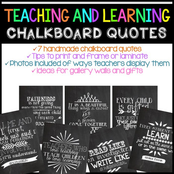 Teaching And Learning Chalkboard Quotes By Katie Surly | Tpt - Education Quotes