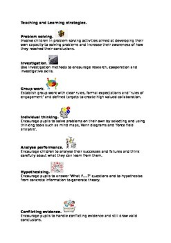 Teaching and Learning strategies.