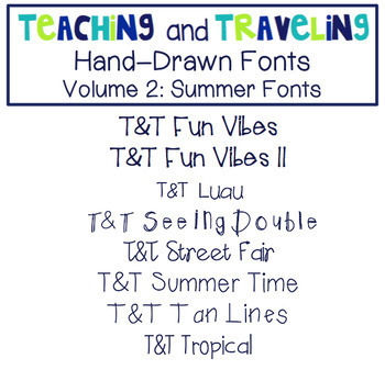 Teaching and Traveling Fonts Growing Bundle