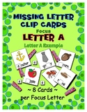 Teaching by the Letter A Missing Letter Clip Cards for Pre