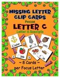 Teaching by the Letter C Missing Letter Clip Cards for Pre