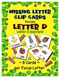 Teaching by the Letter D Missing Letter Clip Cards for Pre