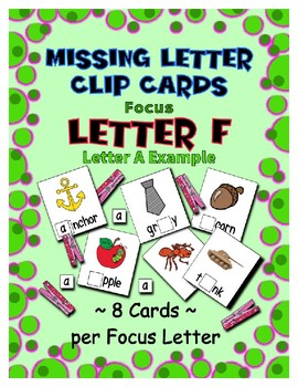Teaching by the Letter F Missing Letter Clip Cards for Preschool & Fine Motor