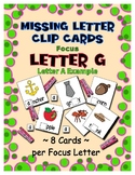 Teaching by the Letter G Missing Letter Clip Cards for Pre