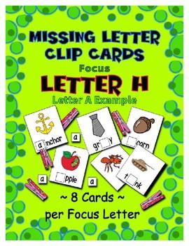 Teaching by the Letter H Missing Letter Clip Cards for Preschool & Fine Motor